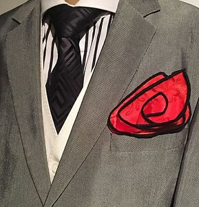 Pocket Square Handmade Red Floral And Black Stitched Borders By Squaretrapny.com