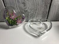 """HAND-PAINTED CHRISTINE SCHNEIDER Hart Shape Glass Forget Me Not Gifts 4"""""""