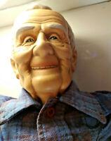 "Vintage creepy Grandpa old man doll 34"" tall handmade Elmer Coggins"