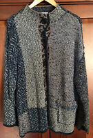 Coldwater Creek Women's XL Cardigan Jacket Funky Style Button Up Blues & White
