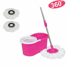 Microfiber Spinning Magic Easy Floor Mop with Bucket 2 Heads 360°Rotating Pink