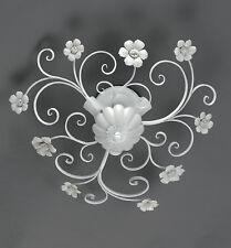 Plafoniera in ferro battuto bianco con porcellana 3 luci pre Pl 165/45P