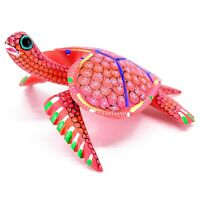Handmade Alebrijes Oaxacan Copal Wood Carving Painted Sea Turtle Figurine
