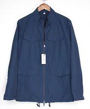 Hardy Amies Mens Field Jacket XL Solid Navy Blue Zip Front 4 Pocket Fall Coat