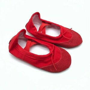 Toddler Girls Ballet Slippers Slip On Canvas Leather Red Size 25 US 9