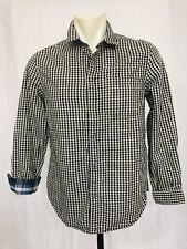 Reversable Blue Black Plaid Shirt Mens Small Long Sleeved Snap Front