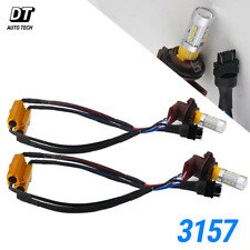 Error Free 3157 LED Turn Signal Parking DRL Amber Yellow Light Bulbs + Resistor