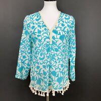 Roberta Roller Rabbit Size Small Blouse Top Blue Floral Print Silk Blend