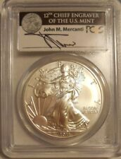 2011 W MERCANT LABEL BURNISHED SILVER EAGLE PCGS MS70 FS 25TH ANNIVERSARY SET