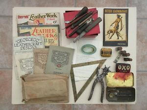 Vintage 1930's Leatherworking Tools Punches Magazines Patterns offcuts & Misc.
