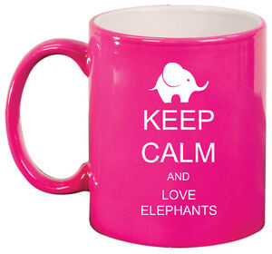 11oz Ceramic Coffee Tea Mug Glass Cup Keep Calm and Love Elephants