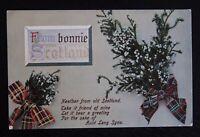 FROM BONNIE SCOTLAND - Vintage Postcard with Heather & Tartan Ribbons - Unused