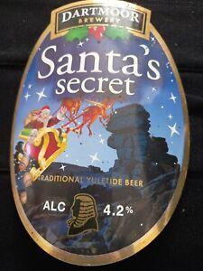 Dartmoor Brewery Santa Secret Real Ale Pump Clip. Clip Not Included