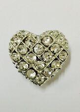 Rhinestone Silver Heart Brooch Wedding Cake Bouquet Crystal Pin Decoration #47