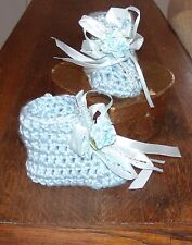 Blue Hand crochet Baby  Booties Baby Newborn 3 Months by Rocky Mountain Marty