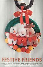 KNITTING PATTERN Christmas Wreath with Santa Reindeer Snowman Toy Festive Rico