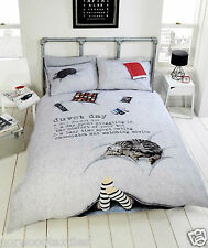 Cat Chocolate Feet Lazy Day Grey Black Red King Size Duvet Cover 230x220cm