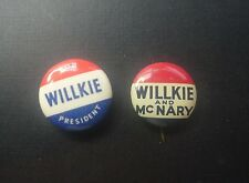 Vintage Lot of 2 1940 Wilkie and McNary Button/Badge Pin Pinbacks President