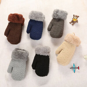 Winter Baby Boy Girl Warm Rope Gloves Kids Knitted Thicken Full Finger Mittens G
