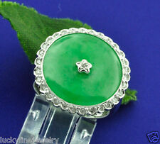 0.20 ct 18k Solid White Gold  ladies Imperial Jade Natural Diamond Ring Donut