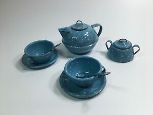 Vintage Blue Speckled Enameled Metal Ware Childs Toy Tea Set with Kettle