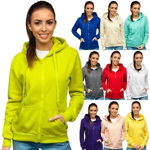 Kapuzenpullover Sweatjacke Sweatshirt Kapuze Basic Unifarben Damen BOLF Sport