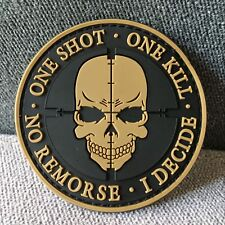 ONE SHOT ONE KILL SNIPER Military Tactical Morale Hook PVC Rubber Patch Tan
