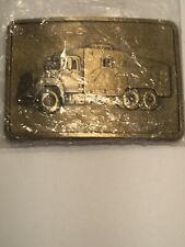 Big Truck! Still In Original Plastic! Nl McCullough Gold Tone Metal Belt Buckle