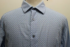 Zara Man Blue Paisley Long Sleeve Shirt Polo Slim Fit Portugal XL Feels Cotton