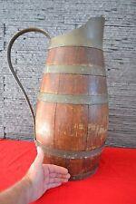 Très gros broc ancien en bois cerclé cuivre LAFITTE Meilleur Ouvrier de F...1933