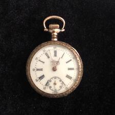 Vintage Alpine Pocket Watch Gold Tone Detailed Design Case Runs