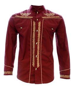 Charro Shirt Long Sleeve El Señor de los Cielos Camisa Charra Color Wine