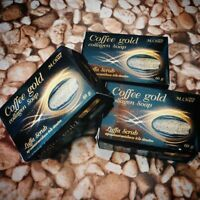 BEAST!! COFFEE GOLD COLLAGEN SOAP REDUCE CELLULITE SMOOTHING + LUFFA SCRUB SOAP