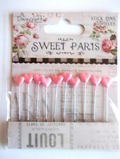 Dovecraft Sweet Paris 10 Stick Pins with pink Hearts - Valentine