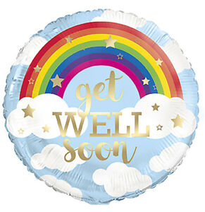 Rainbow Get Well Soon Hanging Party Decoration Helium Air Foil Balloon Treat VIC