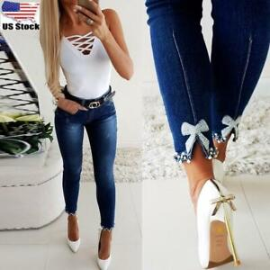 Womens High Waist Skinny Jeans Denim Pants Ladies Stretch Beads Trousers Bottoms