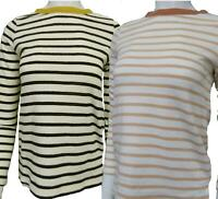 Ex M&S Ladies Pure Cotton Striped top long sleeve