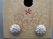 $8 Rachel Inc Stud Earrings Clear Pave Crystal Dome w/Rhinestones Hematite-tone