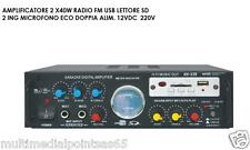 AMPLIFICATORE 2X40W RMS KARAOKE CON RADIO FM SLOT USB/SD E TELECOMANDO