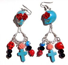 SUGAR SKULL EARRINGS turquoise red black day of the dead kitsch goth occult 3W