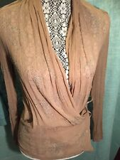 malene birger Pretty Sheer Tan Blush  Top With Crystal Bow Details Wrap Waist