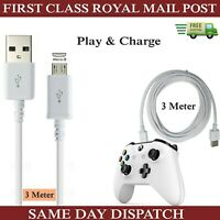 3m Long Micro USB Charger Cable For Xbox One 1 Controller Data Lead-Whiite