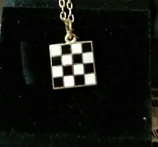 CHECKERED FLAG GOLD PLATED RACING NECKLACE  RACING JEWELRY