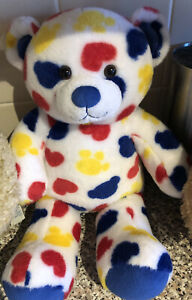 Build a Bear love heart and paw print teddy In blue red and yellow rare Rainbow