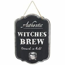 Witches Brew Brewed In Hell Wooden Halloween Spooky Hanging Sign