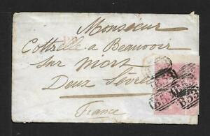 MAURITIUS TO FRANCE 4d BLOCK OF 4 ON COVER 1866