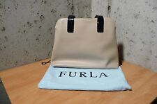 Furla hand bag, purse genuine Leather two tone camel and black w/dust cover