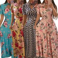 Plus Size S-5XL Women Maxi Boho Floral Long Dress Summer Beach Sundress