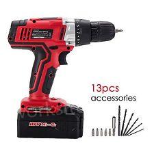"""18V Cordless Drill 2 Speed 3/8"""" Ni-cd Power Tool 12Pc Bit Kit LED Light 0-550RPM"""