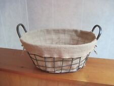 """Rustic Vintage Style Iron Metal Basket with Handles and Burlap Lining 16"""" x 7"""""""
